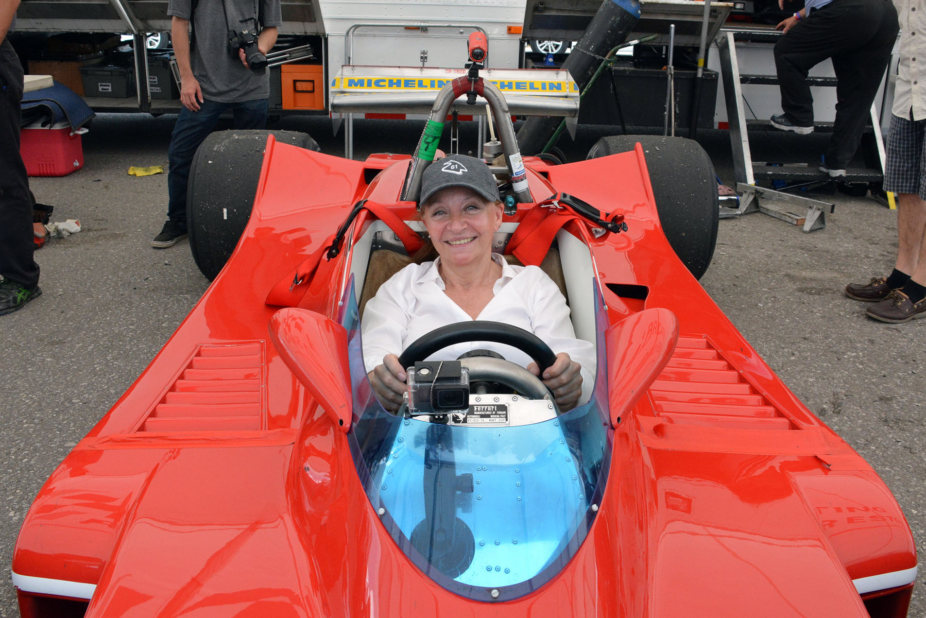 TrackWorthy - Joann Villeneuve sitting in her husband's F1 car for the first time (4)